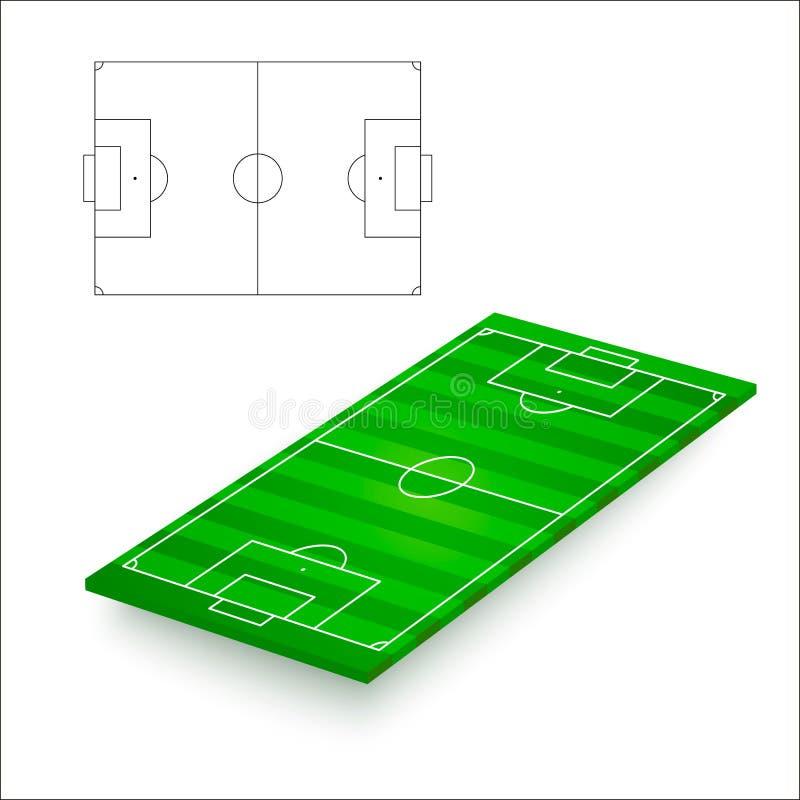 Geweven groen grasvoetbal of voetbalgebied Schets van voetbalhoogte Vector illustratie vector illustratie