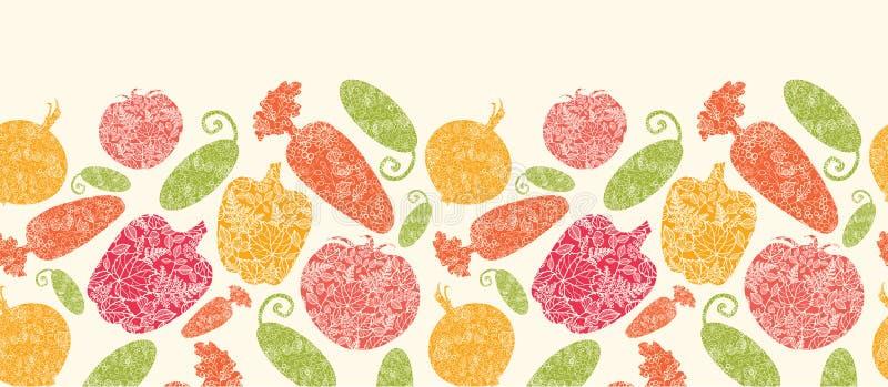 Geweven groenten horizontaal naadloos patroon vector illustratie