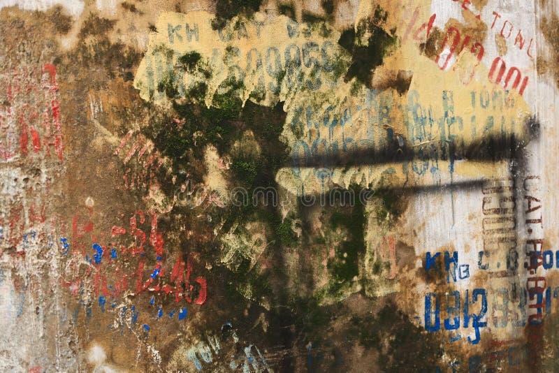 Geweven Grunge-Muurachtergrond met Graffiti stock afbeeldingen