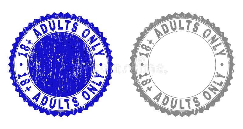 Geweven 18 plus de Watermerken van VOLWASSENEN SLECHTS Grunge royalty-vrije illustratie