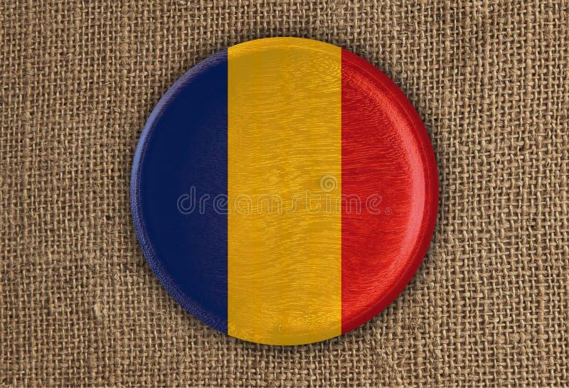 Geweven Rond de Vlaghout van Roemenië op ruwe doek royalty-vrije stock fotografie
