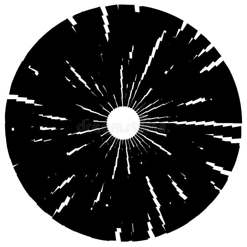 Geweven schijf, cirkelelement Zwart-wit geometrische vorm stock illustratie