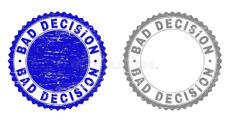 Geweven SLECHTE BESLUIT Gekraste Zegelverbindingen vector illustratie