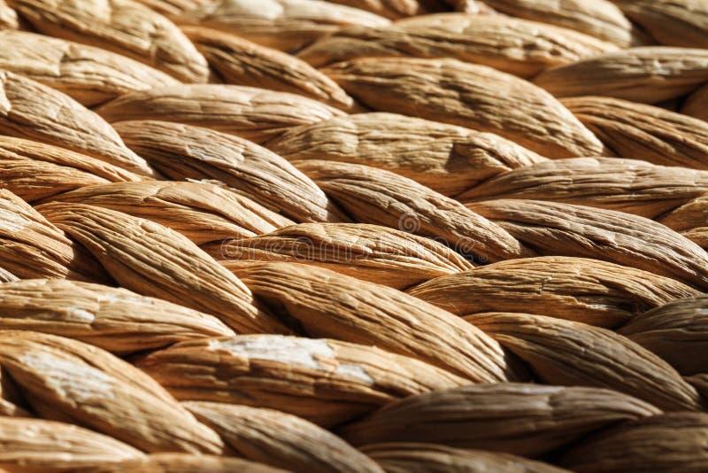Geweven Versleten Rieten Textuurmacro stock afbeeldingen