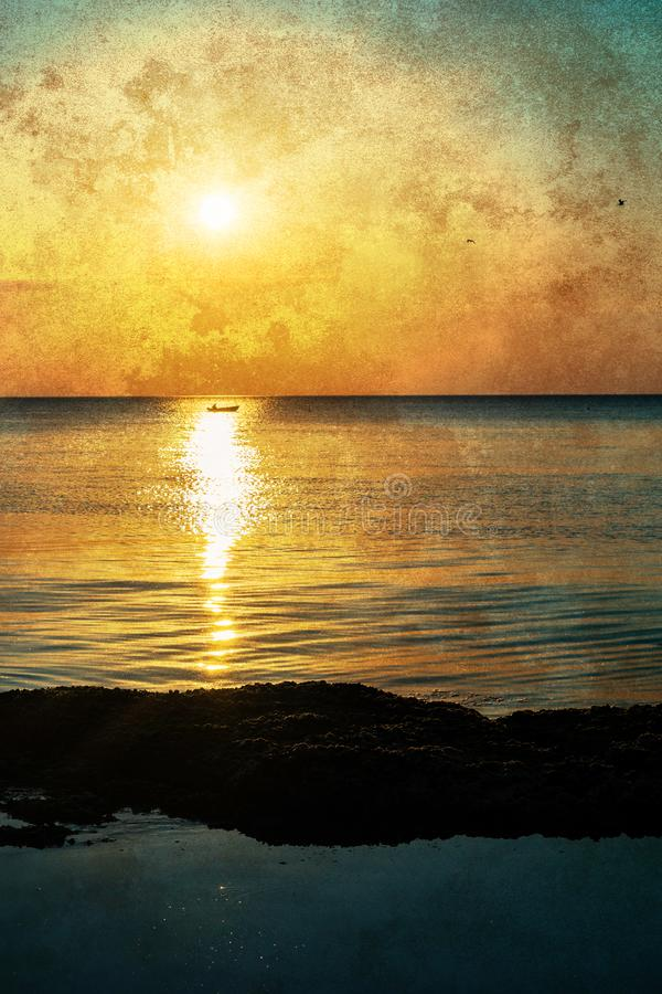 Geweven zonsopgang op zee