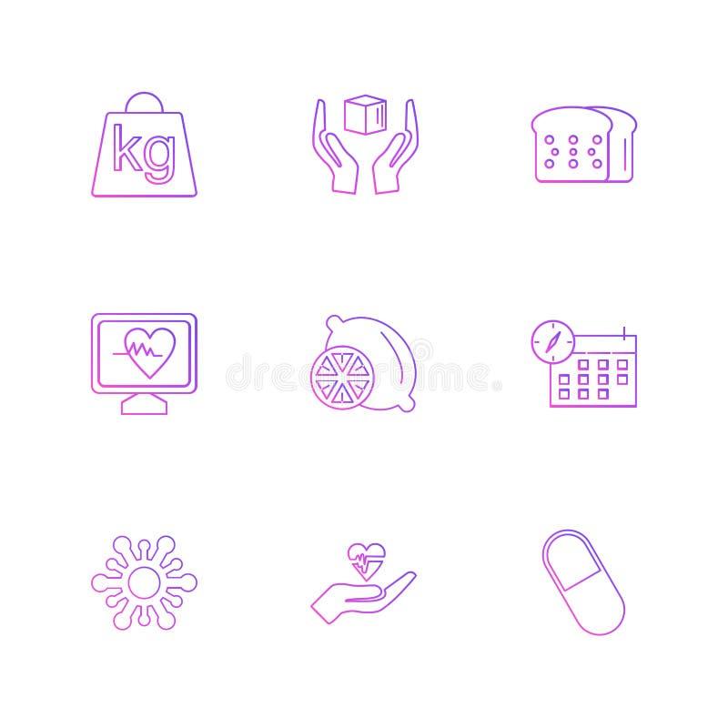 gewicht, citroen, brood, ecg, celender, vruchten, gezondheid, fitn stock illustratie