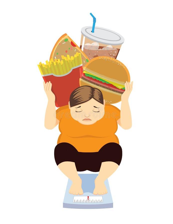 Gewicht gegangen herauf weil ungesunde Fertigkost lizenzfreie abbildung