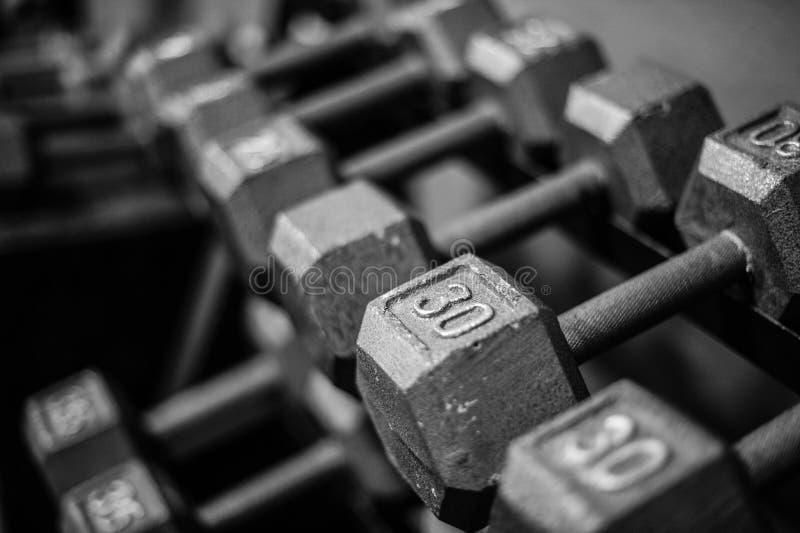 Gewichte auf Gestell stockbilder