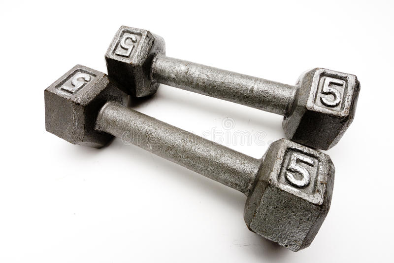 Gewichte der Nahaufnahme zwei Handtrennten weißen Hintergrund lizenzfreies stockbild