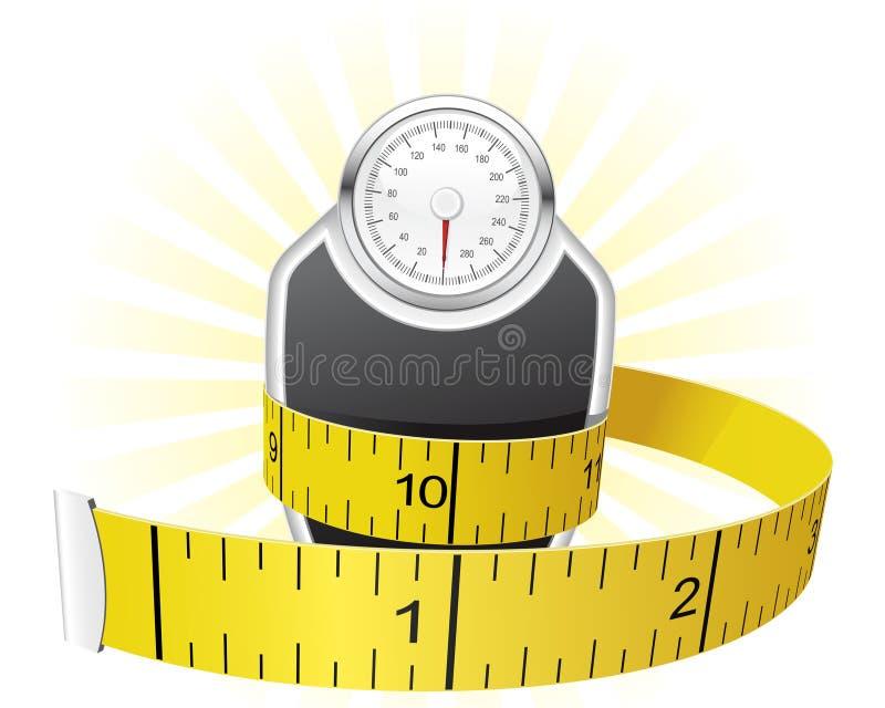 Gewichte und Bandmaß lizenzfreie abbildung