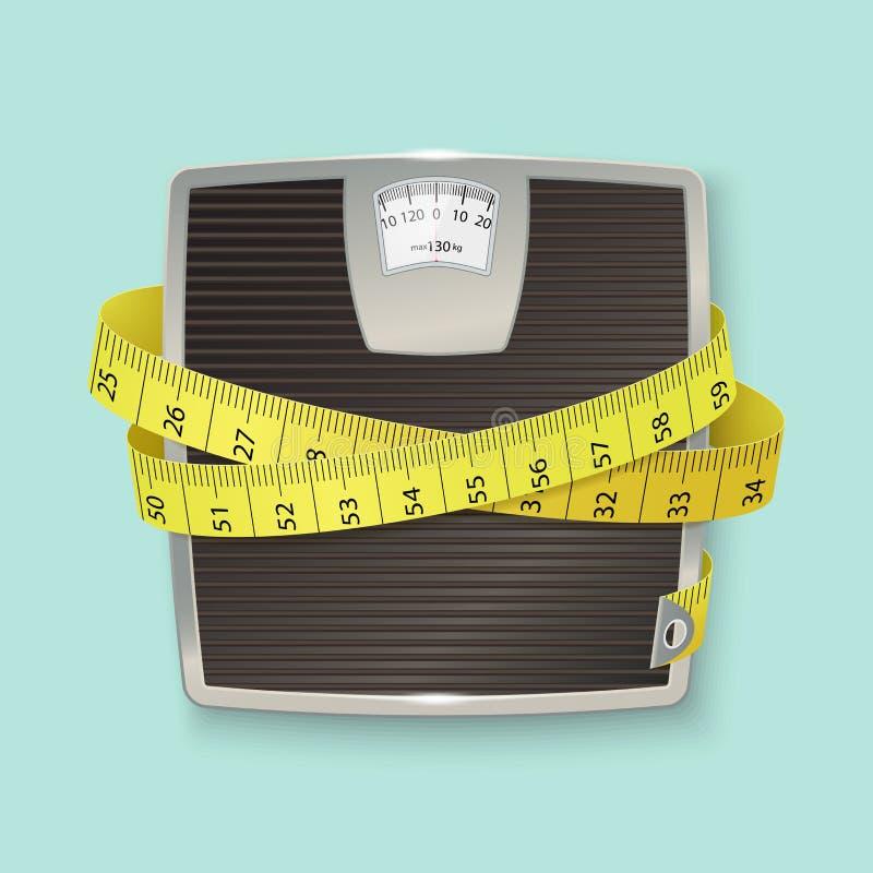Gewichte und Bandmaß Breiten Sie Skalen aus lizenzfreie abbildung