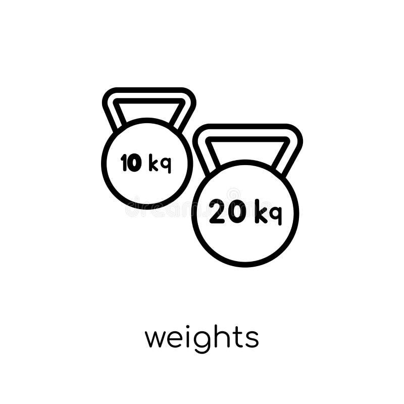 Gewichtenpictogram In modern vlak lineair vectorgewichtenpictogram op w vector illustratie