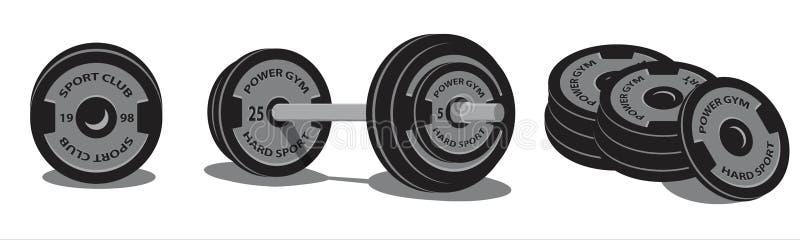 Gewichtheben Barbell mit Sportdisketten für Dummkopf Art 3d Taube als Symbol der Liebe, pease stock abbildung