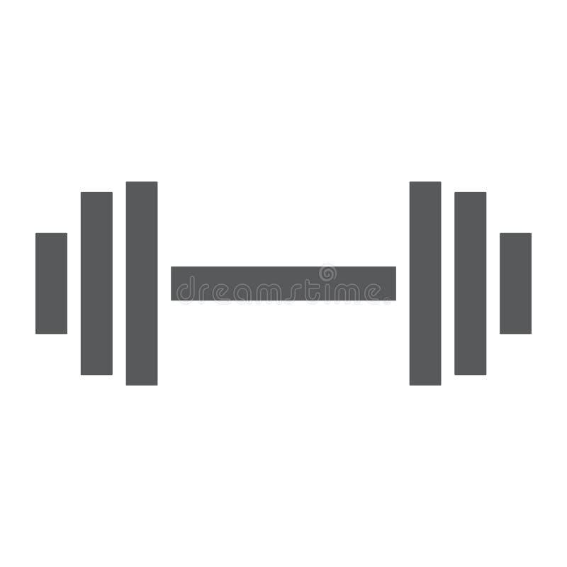 Gewichtheben Glyphikone, Turnhalle und Sport, Barbell vektor abbildung