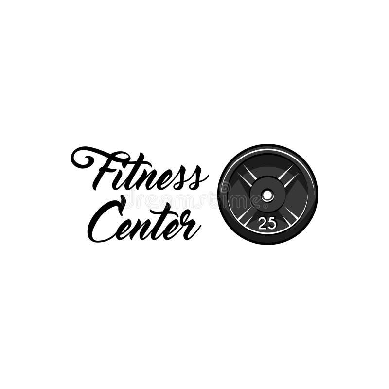 Gewichtheben, powerlifting Plattenikone Eignungsmitte-Emblemlogoaufkleber Barbellscheibenausweis Schattenbild des Bodybuilders Ve stock abbildung