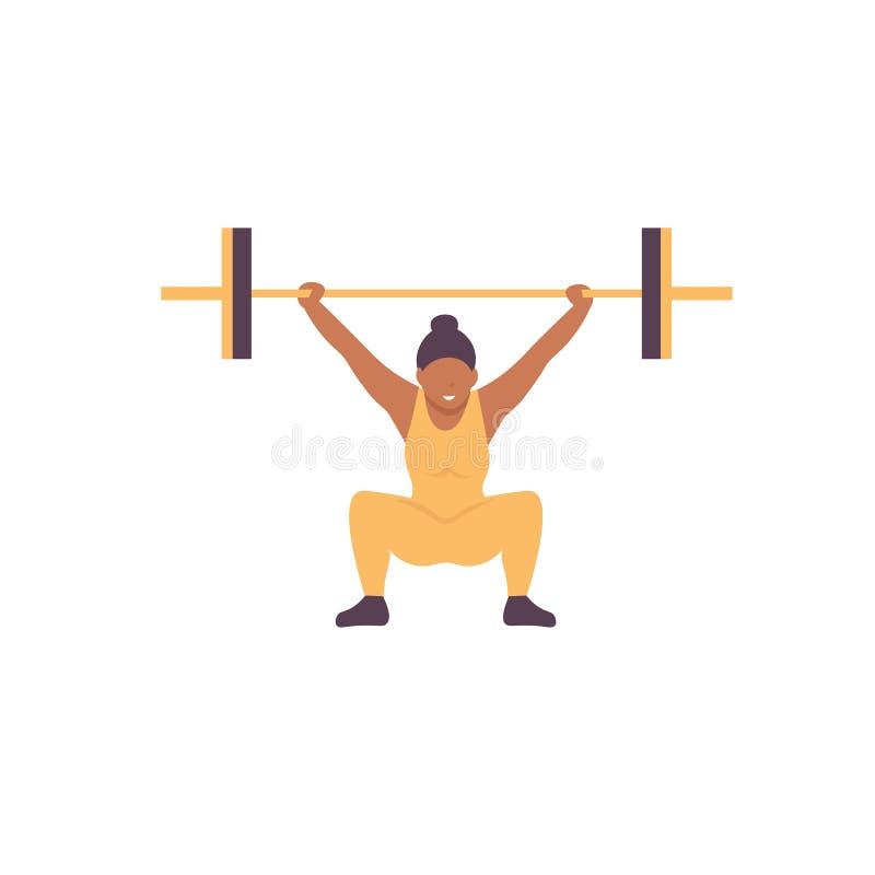 Gewichthebenfrau, Turnhallentrainingscharakter lizenzfreie abbildung