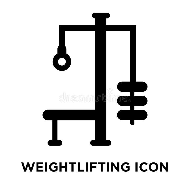 Gewichthebenikonenvektor lokalisiert auf weißem Hintergrund, Logobetrug lizenzfreie abbildung