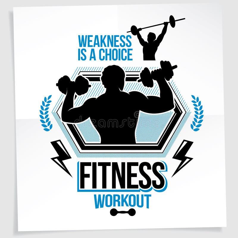 Gewichthebenmeisterschafts-Förderungsflieger hergestellt mit Vektorillustration der athletischen Bodybuilderkörper-Schattenbildho stock abbildung