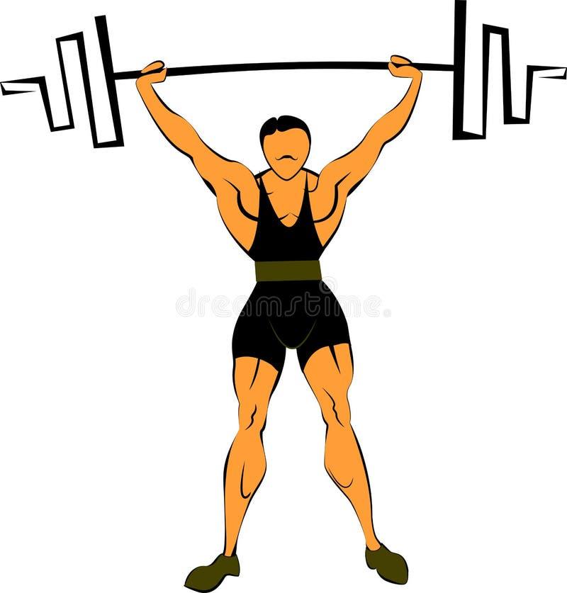 Gewichtheffen met een barbell vector illustratie