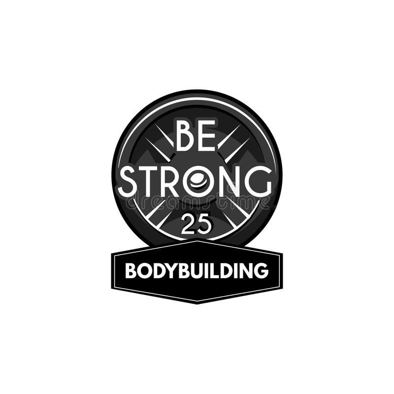 Gewichtheffen powerlifting plaat Het etiket van het Bodybuildingsembleem Barbellschijf Vector vector illustratie
