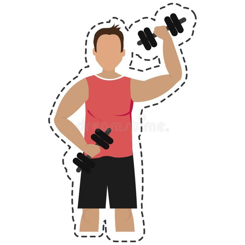 Gewichtheffengymnastiek geïsoleerd pictogram vector illustratie