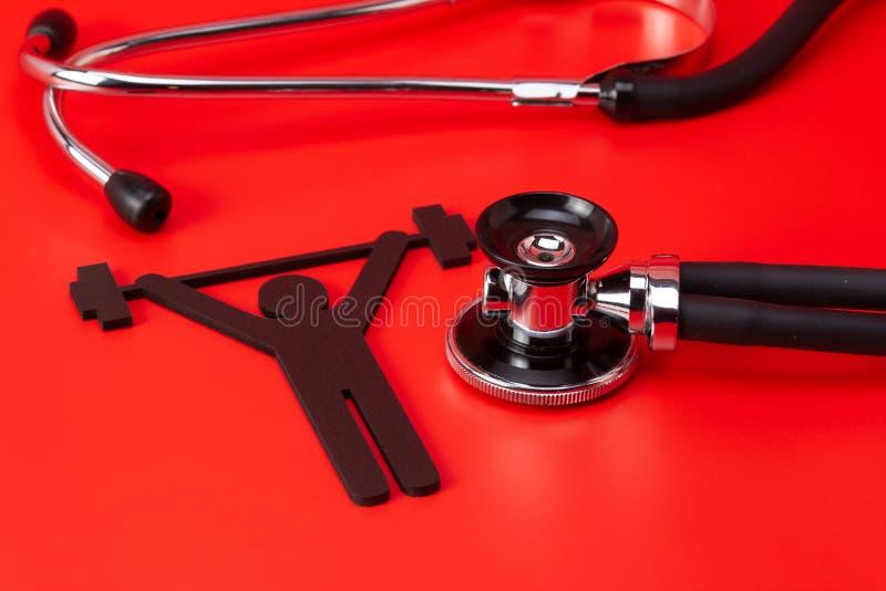Gewichtheffenpictogram, Stethoscoop, geïsoleerd close-up stock afbeeldingen