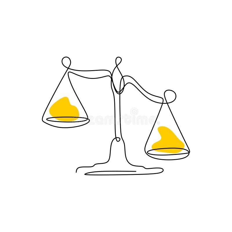 Gewichtsbalancensymbol Waage oder Federzeichnungsartvektorillustration der Gesetzesidentität eine lizenzfreie abbildung