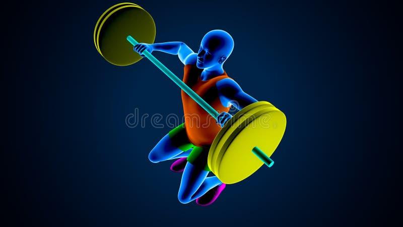 Gewichtsheftoestel op een blauwe achtergrond 3D Illustratie stock illustratie