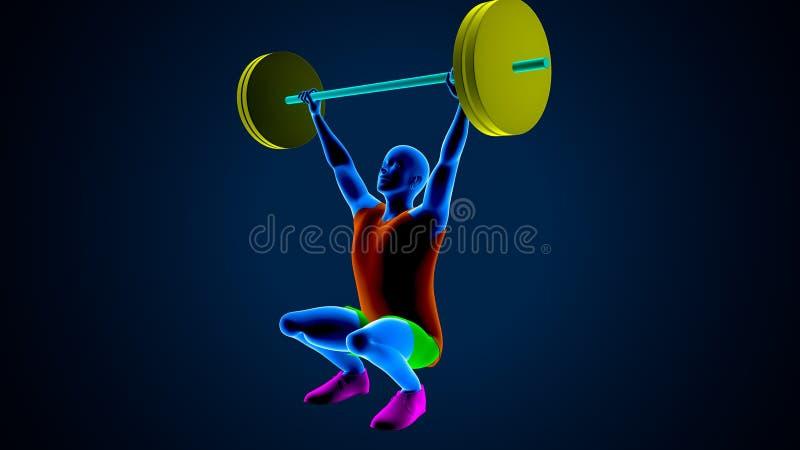 Gewichtsheftoestel op een blauwe achtergrond 3D Illustratie vector illustratie
