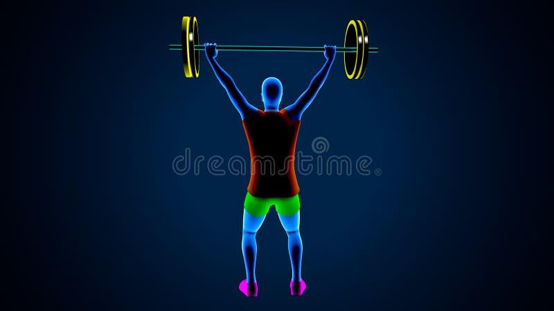 Gewichtsheftoestel op een blauwe achtergrond 3D Illustratie royalty-vrije illustratie