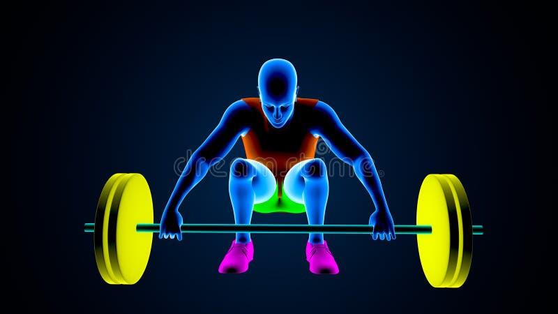 Gewichtsheftoestel op een witte achtergrond 3D Illustratie royalty-vrije illustratie