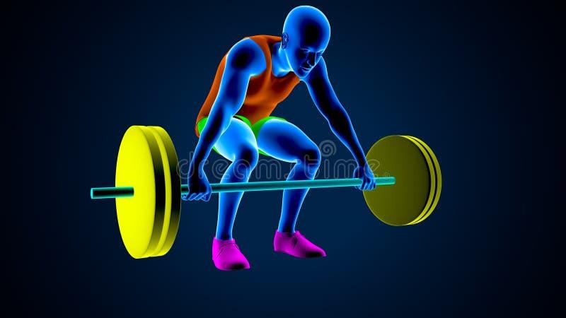 Gewichtsheftoestel op een witte achtergrond 3D Illustratie vector illustratie