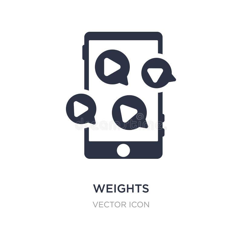 Gewichtsikone auf weißem Hintergrund Einfache Elementillustration vom Blogger- und influencerkonzept vektor abbildung