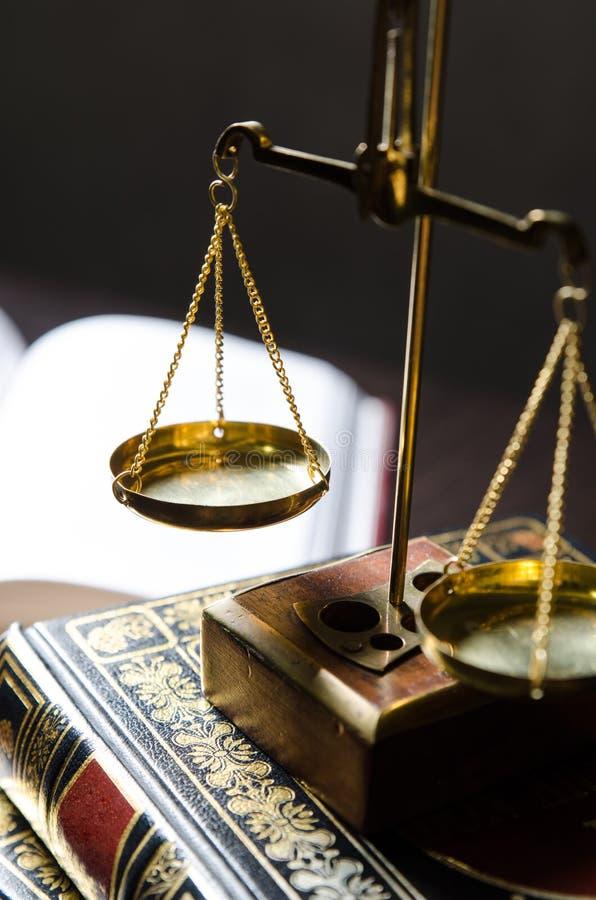 Gewichtsschaal en Boeken Schalen van Rechtvaardigheidssamenstelling royalty-vrije stock afbeelding