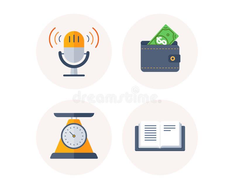 Gewichtsskala, Geldbörse und Retro- Mikrofonikonen Zeichen des offenen Buches Gesundheitsdiät, Dollargeld, Radioton Vektor vektor abbildung