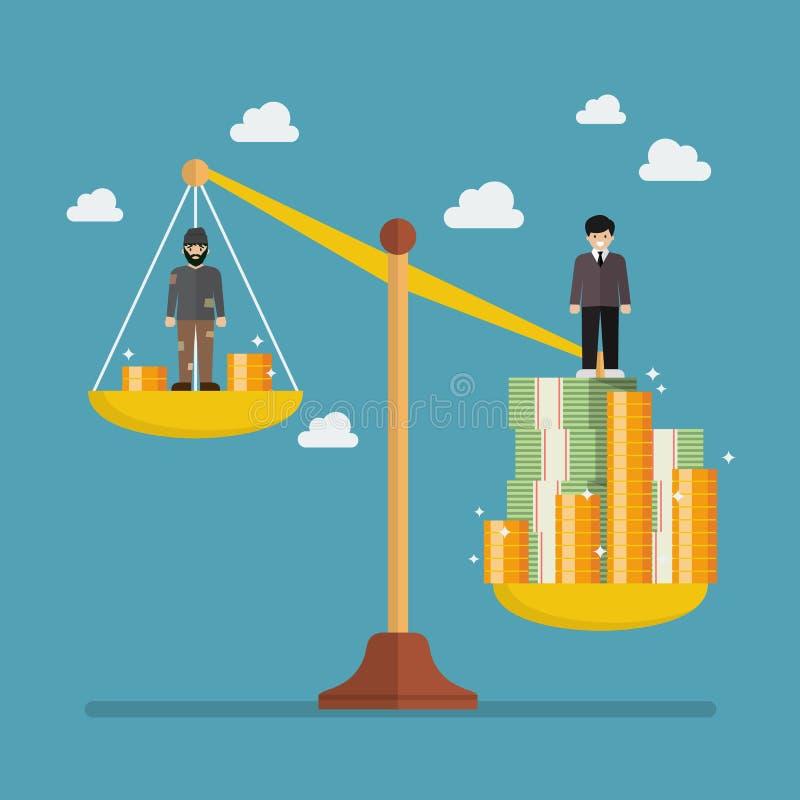 Gewichtsskala zwischen Reicher und armem Mann lizenzfreie abbildung