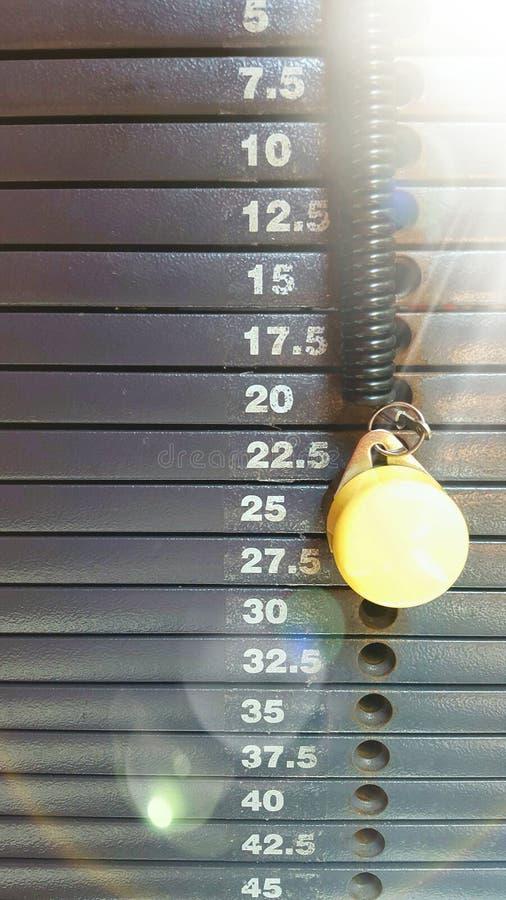 Gewichtsstapelskala mit Staffelung in den Kilogramm mit Stift und Sonnenstrahl lizenzfreie stockfotos