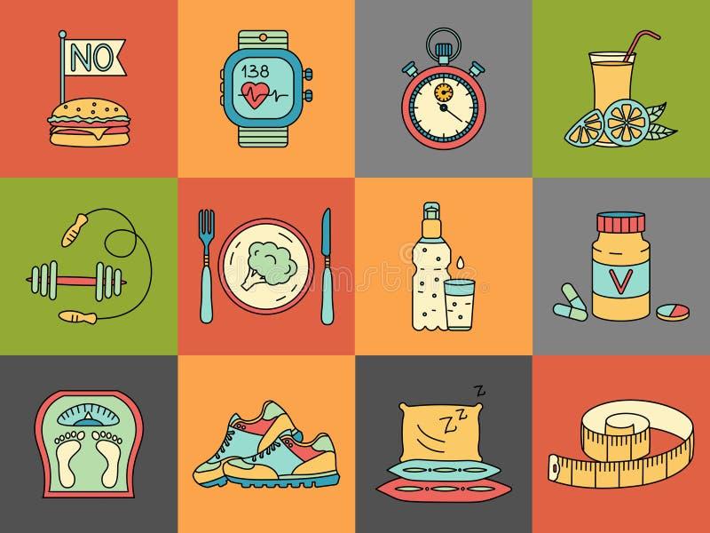 Gewichtsverlies, geplaatste Dieetpictogrammen Geschiktheid en gezondheidsinzameling vector illustratie