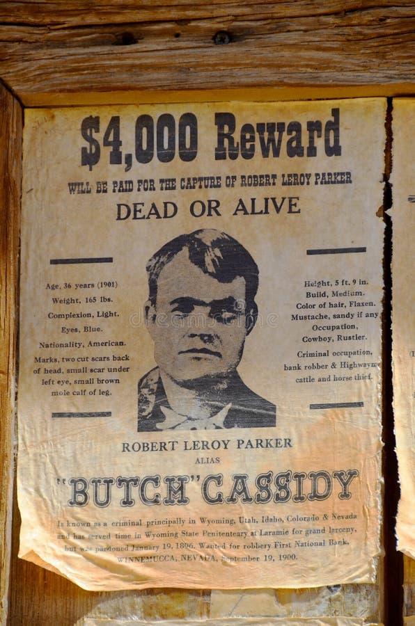 Gewild die Robert Leroy Parker als Butch Cassidy wordt bekend stock foto