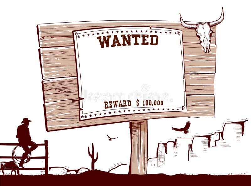 Gewild document op houten raad voor tekst stock illustratie