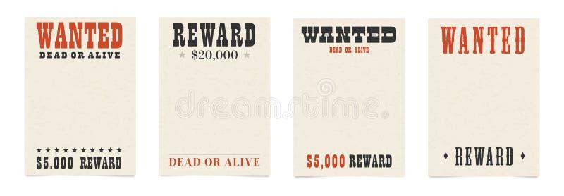 Gewild dood of levend leeg affichemalplaatje royalty-vrije illustratie