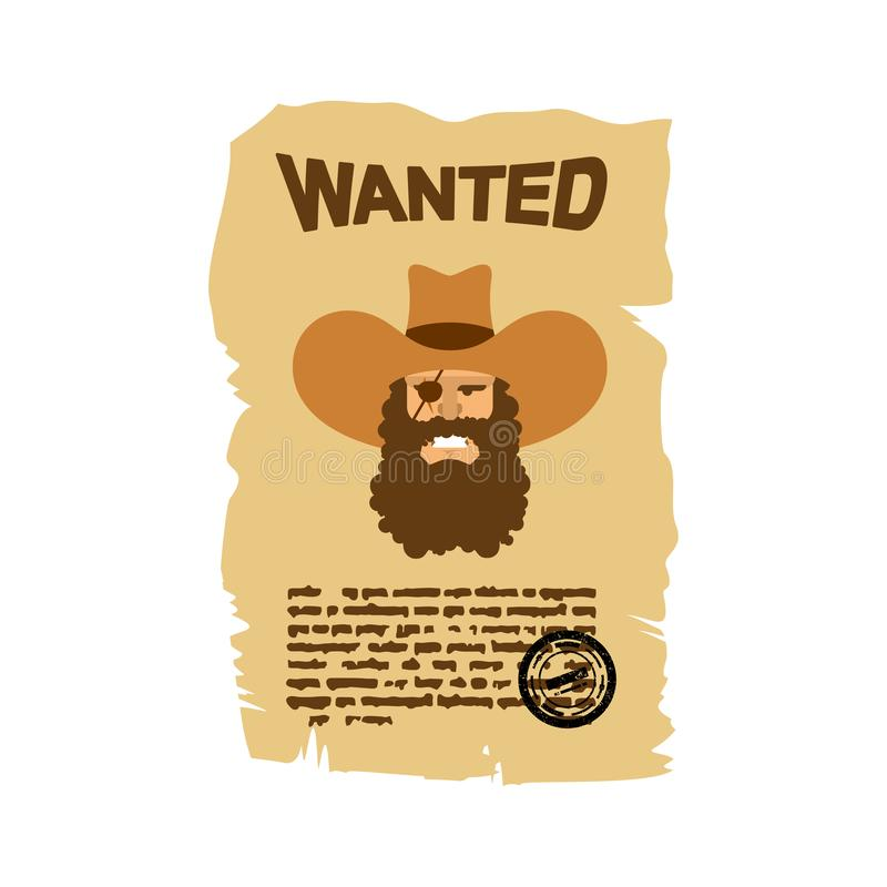 Gewilde vlieger De advertentie van Wilde Westennen Portret van boze cowboy royalty-vrije illustratie