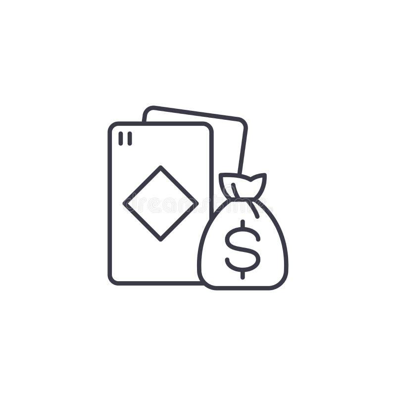 Gewinn am linearen Ikonenkonzept der Karten Gewinnen Sie an der Kartenlinie Vektorzeichen, Symbol, Illustration vektor abbildung