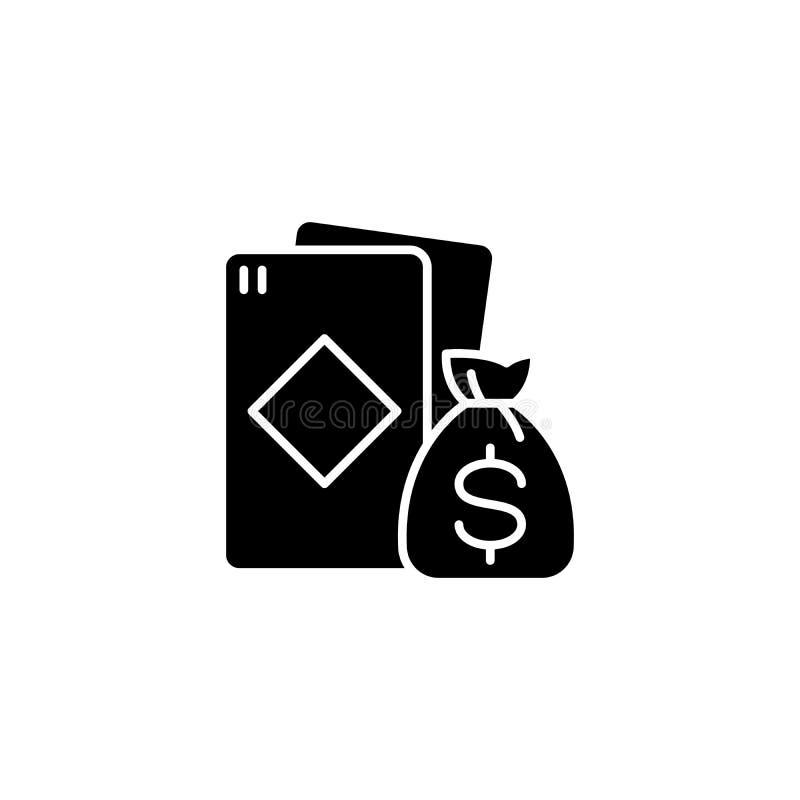Gewinn am schwarzen Ikonenkonzept der Karten Gewinnen Sie am flachen Vektorsymbol der Karten, Zeichen, Illustration vektor abbildung