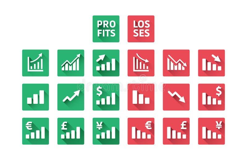 Gewinn-und Verlust-Ikonen stock abbildung