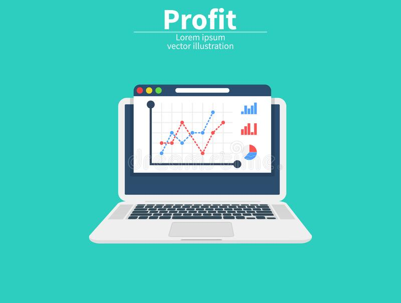 Gewinn-Wachstum auf Schirm, Investitionskonzept Erhöhen Sie sich des Profites Pixelization vom 2D Vektor Analytische Daten des Ma stock abbildung