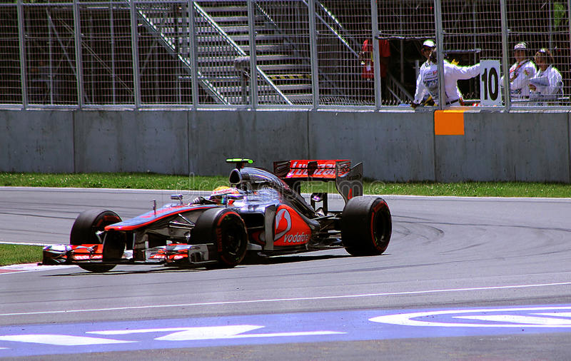 Gewinne Lewis-Hamilton in Montreal stockfotos