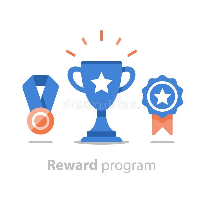 Gewinnen Sie Superpreis, Belohnungsprogramm, Siegercup, Erstplatz- Schüssel-, Leistungs- und Durchführungskonzept, flache Ikone stock abbildung