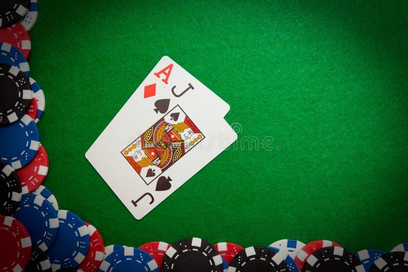 Gewinnende Hand des Blackjack stockfotos