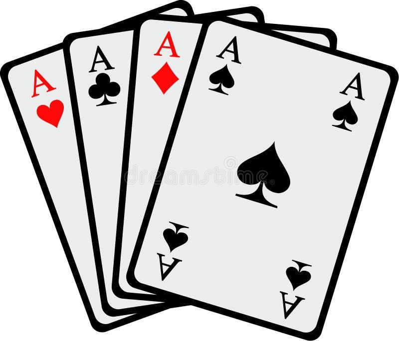 Gewinnende Spielkarten Asse der Hand vier lizenzfreie abbildung